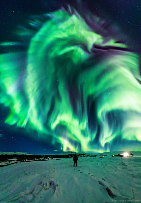 Northern lights, shaped like a dragon