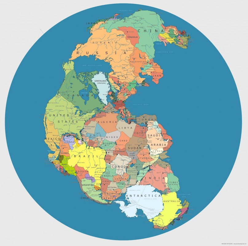 Pangea with country names