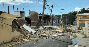 Fallen buildings after an earthquake in Puerto Rico