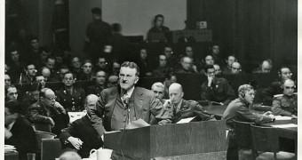 Prosecutor Ralph Albrecht at the Nuremberg Trials
