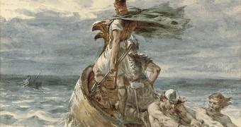Viking ship painting