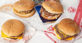 Value hamburgers from various fast food restaurants