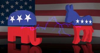 Democratic and Republican party symbols