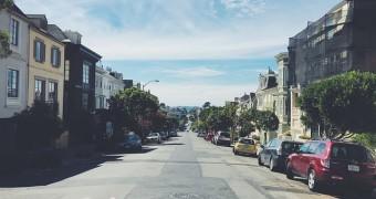 Empty streets in San Francisco, CA