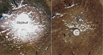photos of before and after Iceland OK glacier